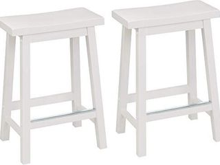 Amazon Basics Classic Solid Wood Saddle Seat Kitchen Counter Stool with Foot Plate 24 Inch  White  Set of 2