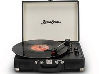 Byron Statics Vinyl Record Player  3 Speed Turntable Bluetooth Record Player with 2 Built in Stereo Speakers  Portable Vintage Suitcase  Black