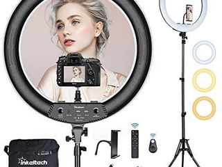 Inkeltech 21inch Ring light with Tripod and Phone Holder  3000K 6000K Dimmable Bi Color lED light Ring for Makeup  Selfie  Vlog  YouTube Video  Camera   Control with Remote