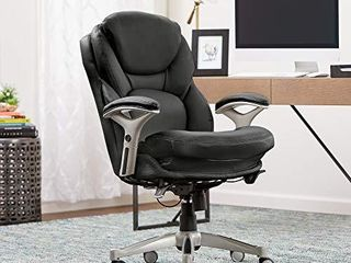 Serta Ergonomic Executive Office Motion Technology  Adjustable Mid Back Desk Chair with lumbar Support  Black Bonded leather