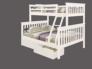 Donco Kids Mission Bunk Dual Under Bed Drawers  Twin Full  White  BED NOT INClUDED
