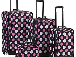 Rockland Escape 4 Piece Softside Upright luggage Set  Multi Pink Dot   14 19 24 28  MISSING 1 PIECE