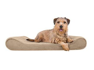 Furhaven Pet Dog Bed   Orthopedic Micro Velvet Ergonomic luxe lounger Cradle Mattress Contour Pet Bed with Removable Cover for Dogs and Cats  Clay  large