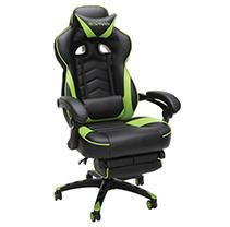 RESPAWN 110 Racing Style Gaming Chair  Reclining Ergonomic leather Chair with Footrest  in Green  RSP 110 GRN