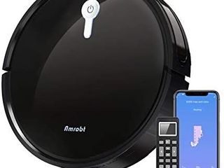 Robot Vacuum Cleaner Amrobt 1800Pa Strong Suction Smart Robotic Vacuum Cleaner Works with Alexa Self Charging Robot Mop Vacuum Cleaner Pet Hair Ideal for Hard Floor and low Pile Carpet