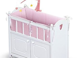 Badger Basket Cabinet Doll Crib with Gingham Bedding  Musical Mobile  Wheels  and Free Personalization Kit  fits American Girl Dolls  White Gingham  01721