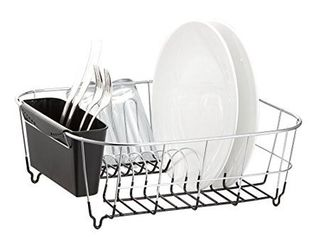 deluxe chrome plated steel small dish drainers  black
