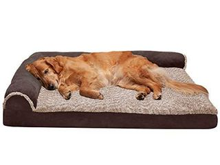 Furhaven Pet Dog Bed   Deluxe Orthopedic Two Tone Plush and Suede l Shaped Chaise lounge living Room Corner Couch Pet Bed with Removable Cover for Dogs and Cats  Espresso  Jumbo