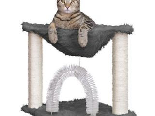 FurHaven Pet Cat Furniture Tiger Tough Plush Cat Hammock  Silver