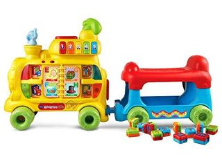 VTech Sit to Stand Alphabet Train  Frustration Free Packaging  MISSING PIECES  WHEElS WIll NOT STAY ON BlUE TRAIN