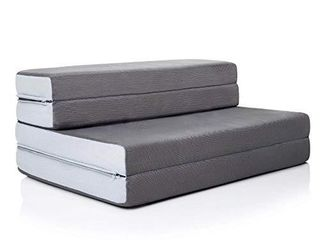 lUCID 4 Inch Folding Sofa and Play Mat   Comfortable and Durable Foam   Washable Cover   Twin