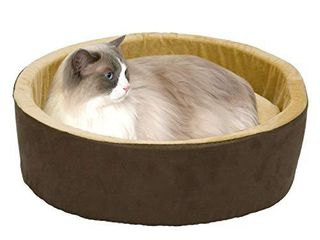 K H PET PRODUCTS Thermo Kitty Heated Cat Bed large 20 Inches Mocha Tan