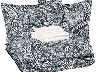 Amazon Basics 8 Piece Comforter Bedding Set  Full   Queen  Blue Paisley  Microfiber  Ultra Soft   MISSING PIllOWS