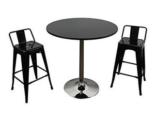 Neos Modern Furniture Round Dining Table with Chrome Base  Black