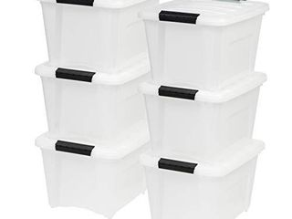 IRIS USA TB 17 19 Quart Stack   Pull Box  Multi Purpose Storage Bin  6 Pack  Pearl