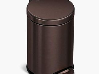 simplehuman 4 5 liter   1 2 Gallon Round Bathroom Step Trash Can  Dark Bronze Stainless Steel