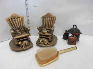 ROCKING CHAIR BOOK ENDS  BRUSH  BEll