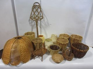 lOT  BASKETS  lAMP SHADES  RUG BEATER  MISC