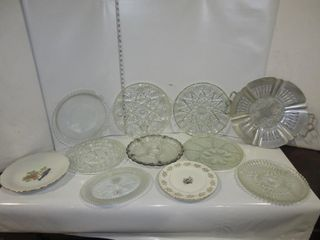 lOT  GlASS PlATTERS  MISC