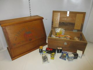 BREAD BOX   WOOD BOX W  CONTENTS