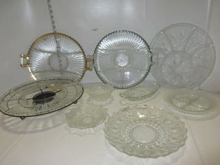 lOT  GlASS TRAYS  MISC