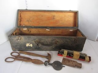 WOOD TOOl BOX W  CONTENTS
