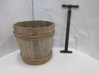WOODEN BUCKET  BIKE PUMP