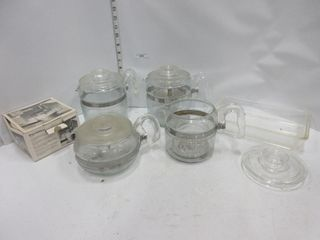 lOT  GlASS COFFEE POTS  MISC