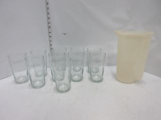 GlASSES  TUPERWARE PITCHER