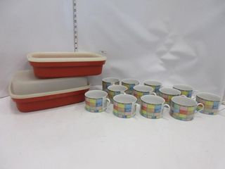 2 TUPPERWARE CONTAINERS  MUGS