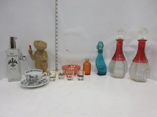 lOT  DECANTERS  TEA CUP  MISC