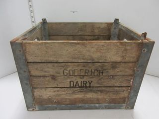 WOOD MIlK CRATE   GODERICH DAIRY
