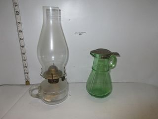 OIl lAMP  GREEN PITCHER