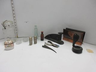 lOT  SAlT   PEPPER  ANTIQUE STAPlER  MISC