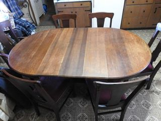 100 year Old Oak Pedestal Dining Table 6ft  long