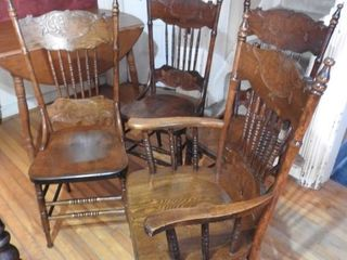 Four Matching Antique High Back Chairs