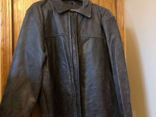 Mens large Brown leather coat