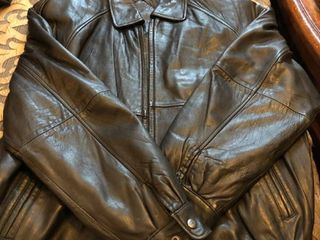 Mens Brown leather coat  l