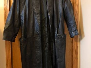 long small black leather dress coat