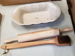 Rolling pin  grill brush and loaf pan