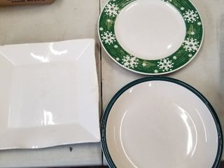White serving dish and assorted plates