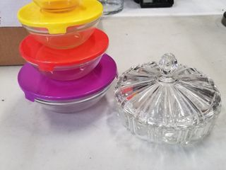 Glass candy dish and set of 4 nesting glass bowls w lids
