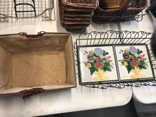Metal basket with floral tile and Burlap basket