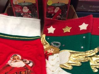 Santa holders and 3 stockings