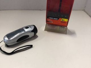 ll Bean solar powered flashlight and Black and Decker drill bits  several missing