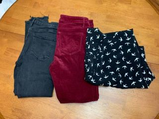 Three pairs of pants size small
