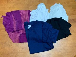 Four shirts and a scarf size small