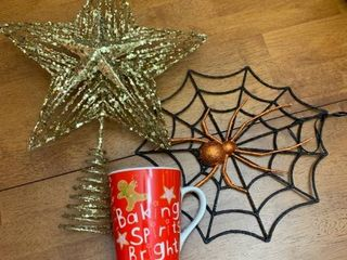 Christmas tree topper  Halloween decoration and a holiday mug