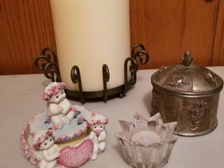 3 wick candle w stand  metal rose box and candle holders