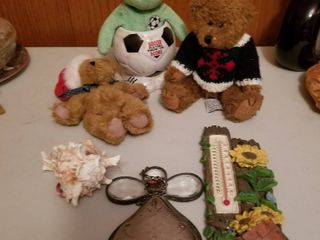 Assorted bears and decor items